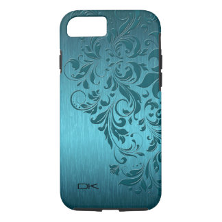 Metallic Turquoise Brushed Aluminum & Floral Lace iPhone 8/7 Case