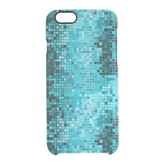 Metallic Turquoise Sequence Look Disco Mirrors Clear iPhone 6/6S Case