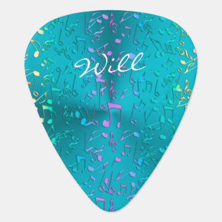 Metallic Turquoise with Colorful Music notes Guitar Pick