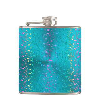 Metallic Turquoise with Colorful Music notes Hip Flask