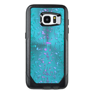 Metallic Turquoise with Colorful Music notes OtterBox Samsung Galaxy S7 Edge Case