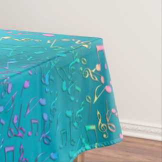 Metallic Turquoise with Colorful Music notes Tablecloth