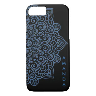 METALLIC Vintage BLUE Intricate Lace Mandala black iPhone 8/7 Case