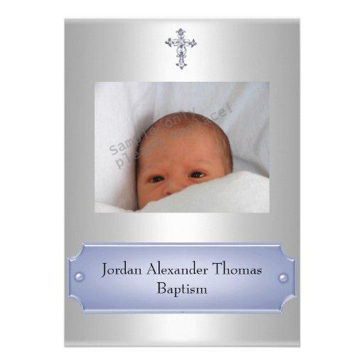 Metallic White Photo Frame Cross Baptism Blue Invitation