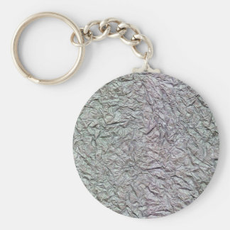 Metallic Wrinkled Paper Texture Basic Round Button Key Ring