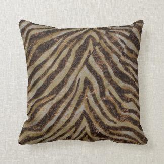 Metallic Zebra Animal Print bronze gold copper tan Cushion