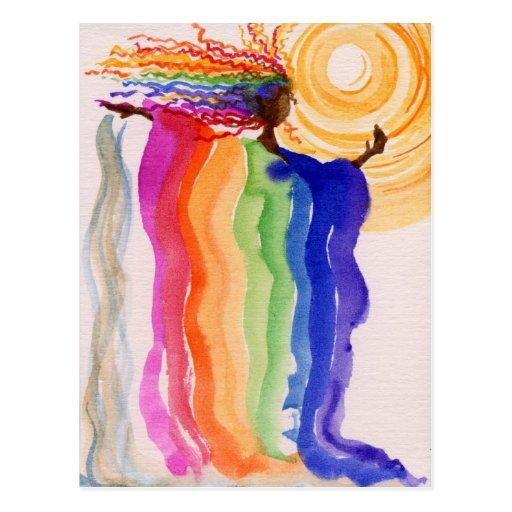 Metamorphosis Rainbow Woman Watercolor Painting Postcards