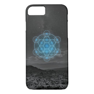 Metatrons Cube Blue Desert Phone Case