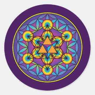 Metatron's Cube Merkaba on Flower of Life Classic Round Sticker