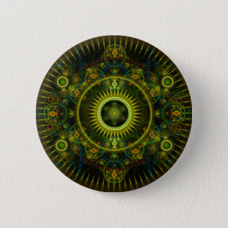 """Metatron's Magick Wheel"" - Fractal Art 6 Cm Round Badge"