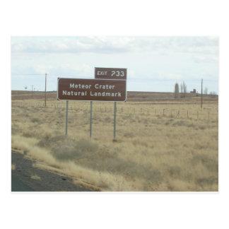 Meteor Crater Natural Landmark Exit Sign Postcard