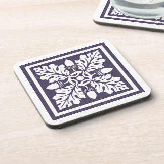 Meteorite Purple Acorn and Leaf Tile Design Coaster