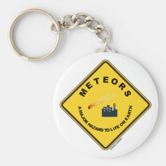 Meteors A Major Hazard To Life On Earth (Sign) Basic Round Button Key Ring