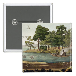 Method of Navigation in New Holland, engraved by F 15 Cm Square Badge