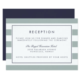Metro Stripe Reception Card | Grayed Jade