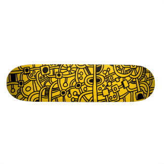 Metropolis III - Black on Amber Skateboard Decks