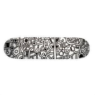 Metropolis III - Black on White Skate Board Decks