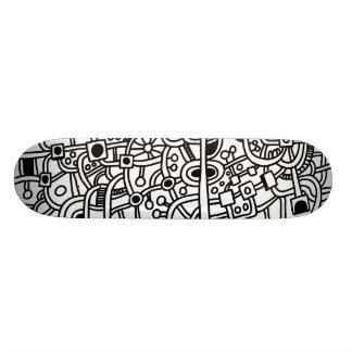 Metropolis III - Black on White Skateboard Decks