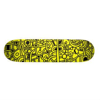 Metropolis III - Black on Yellow Skate Board Deck