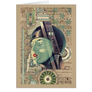 Metropolis Steampunk Woman Card
