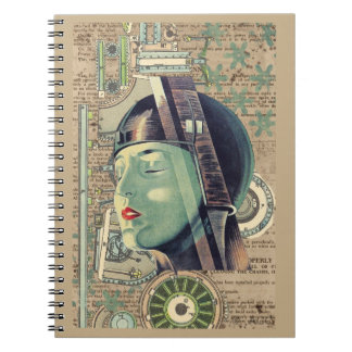Metropolis Steampunk Woman Notebooks