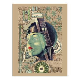 Metropolis Steampunk Woman Postcard