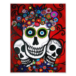 Mexican 3 Skulls Day of the Dead Painting Photograph