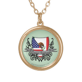 Mexican-American Shield Flag Round Pendant Necklace
