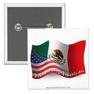 Mexican-American Waving Flag 15 Cm Square Badge