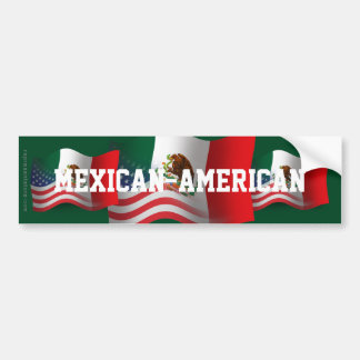 Mexican-American Waving Flag Bumper Sticker