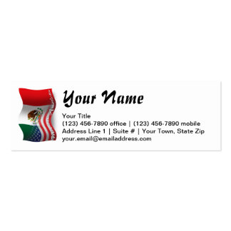 Mexican-American Waving Flag Double-Sided Mini Business Cards (Pack Of 20)