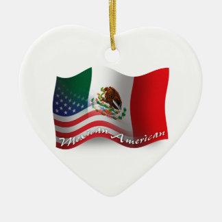 Mexican-American Waving Flag Ceramic Ornament