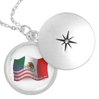 Mexican-American Waving Flag Personalized Necklace