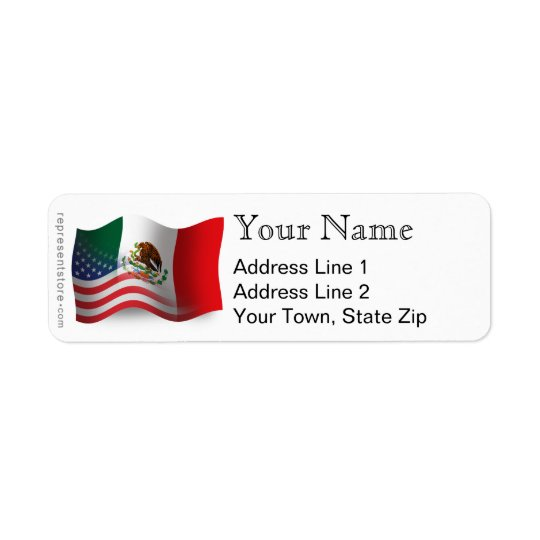 Mexican-American Waving Flag Return Address Label