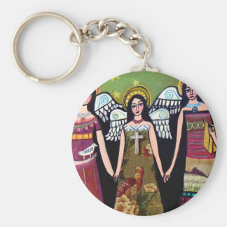 Mexican Angels by Heather Galler Basic Round Button Key Ring