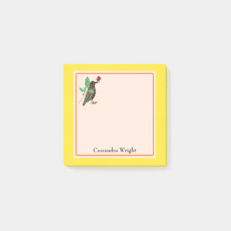 Mexican Art Crow & Rose Personalized Post-it Notes
