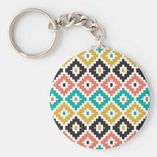 Mexican Aztec Tribal Print Ikat Diamond Pattern Keychain