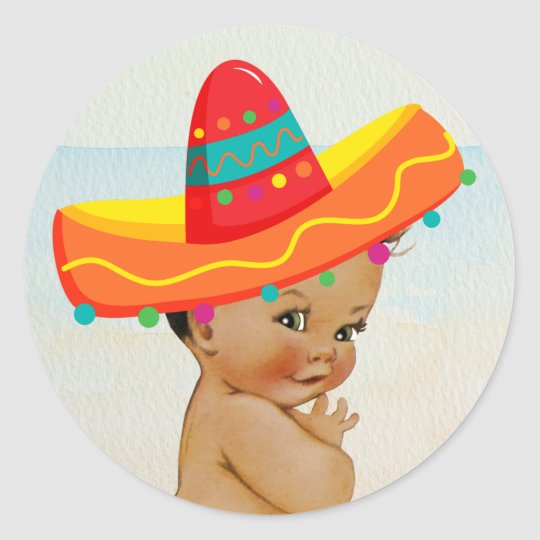 Mexican Baby Shower Sticker with Vintage Baby  c16002ba23b