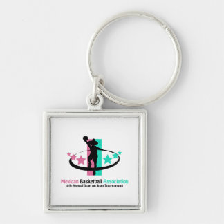 Mexican Basketball Association Silver-Colored Square Key Ring