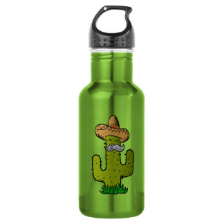 mexican cactus with mustache 532 ml water bottle