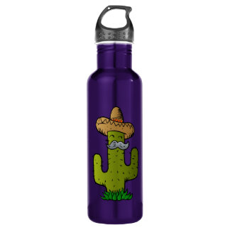mexican cactus with mustache 710 ml water bottle