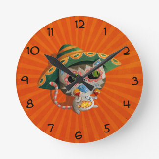Mexican Cat with Sombrero Wall Clocks
