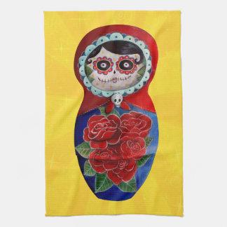 Mexican Catrina Matryoshka Tea Towel