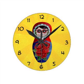 Mexican Catrina Matryoshka Wall Clock