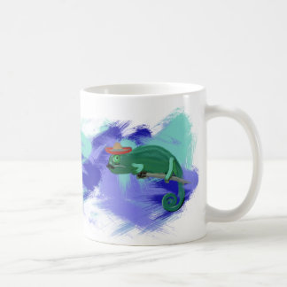 Mexican Chameleon Art Mug with Retro Background