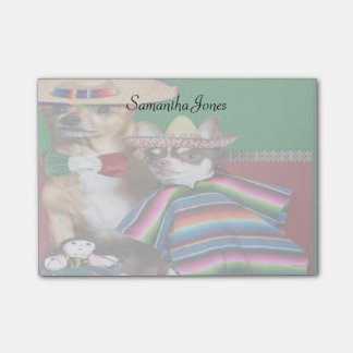 Mexican Chihuahua dogs 4x3 post it notes pad