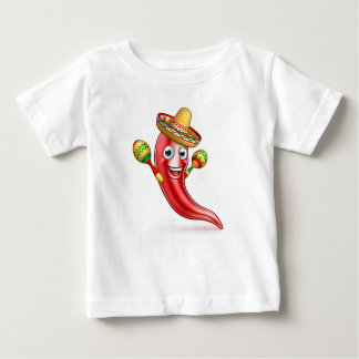 Mexican Chilli Pepper with Maracas and Sombrero Baby T-Shirt