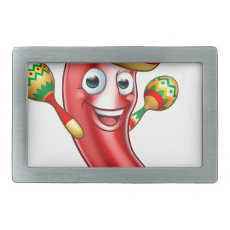 Mexican Chilli Pepper with Maracas and Sombrero Rectangular Belt Buckles