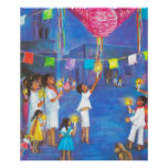 Mexican Christmas, Children and pinatas Print