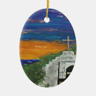 Mexican church on the Pacific Ceramic Oval Decoration